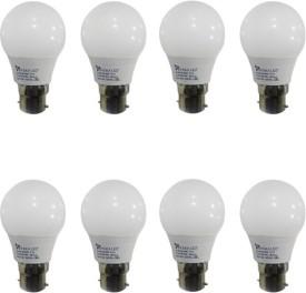 3W B22 Plastic LED Bulb (White, Pack of 8)