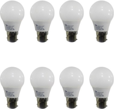 3W B22 Plastic LED Bulb (White, Pack of 8)