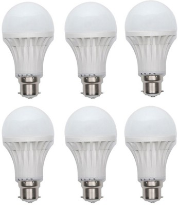 Gold 15W Plastic Body Warm White LED Bulb (Pack Of 6)