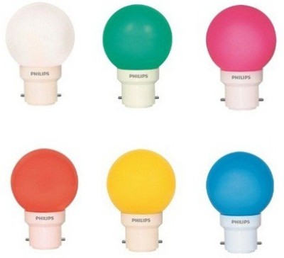 0.5 W LED Bulb Plug and play multi color (pack of 6)