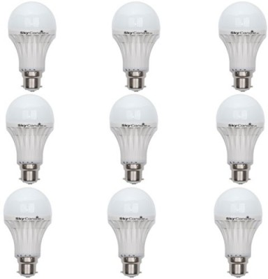 9W B22 LED Bulb (White, Set of 9)