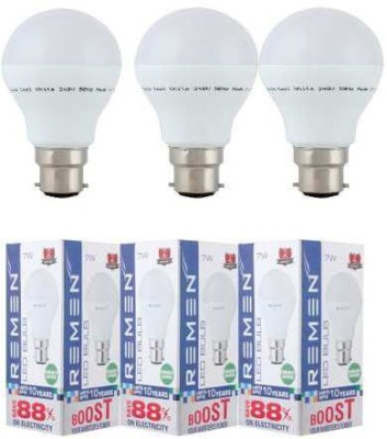 7W B22 LED Bulb (White, Set of 3)