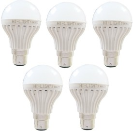 5W B22 LED Bulb (White, Set of 5)