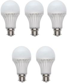 15W Plastic 450 Lumens White LED Bulb (Pack Of 5)