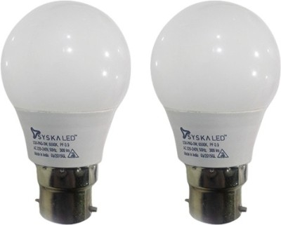 3W B22 Plastic LED Bulb (White, Pack of 2)