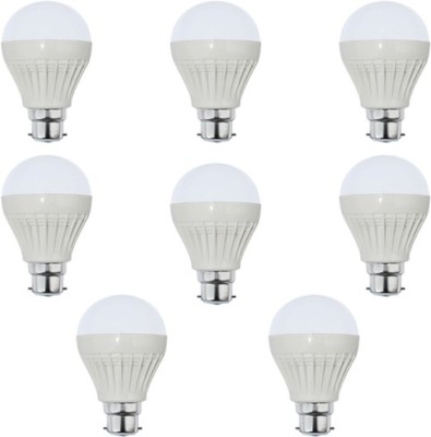 7W Plastic White LED Bulb (Pack Of 8)