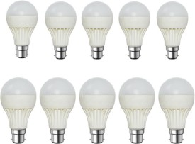 9W Plastic Body White LED Bulb (Pack of 10)