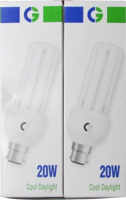 20 Watt 3U CFL Bulb (Cool Day Light,Pack of 2)