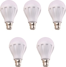 7W 450L B22 Plastic LED Bulb (White, Pack of 5)