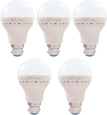 7W B22 LED Bulb (White, Set of 5)