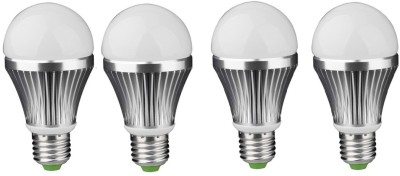 3W E27 Aluminium Body White LED Bulb (Pack of 4)