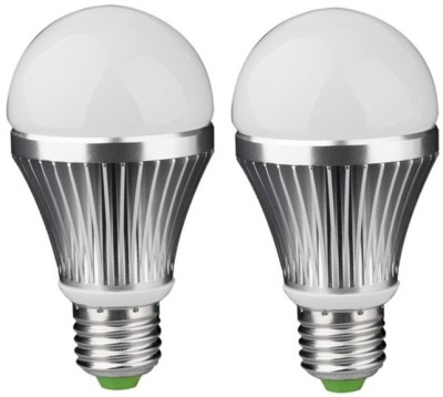 7W E27 Aluminium Body White LED Bulb (Pack of 2)