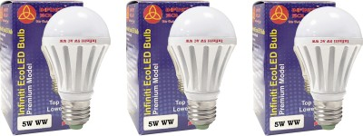 Eco E27 5W LED Bulb (Warm White, Pack of 3)
