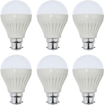 5W Plastic White LED Bulb (Pack Of 6)