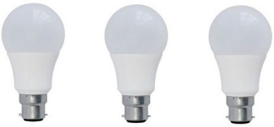7W B22 Plastic LED Bulb (Yellow, Pack of 3)