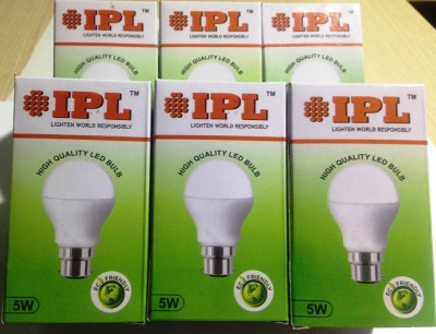 5W B22 LED Bulb (White, Set of 6)