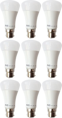 5W B22 LED Bulb (White, Set of 9)