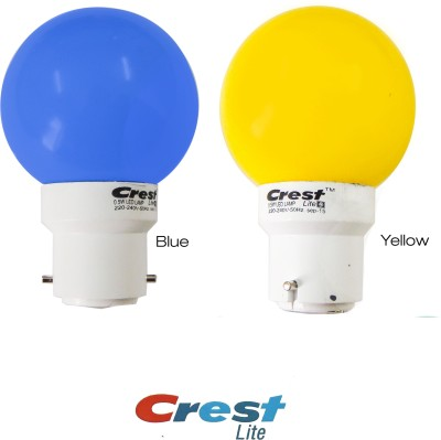 0.5W B22 LED Bulb (Blue, Yellow, Pack of 2)