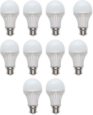 Gold-7W-Plastic-Body-Warm-White-LED-Bulb-(Pack-Of-10)