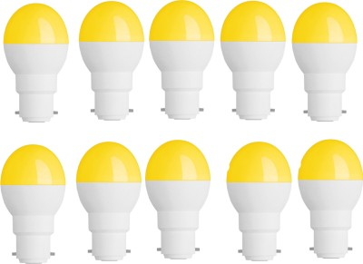 0.5W-Plastic-Body-Yellow-Round-and-Candel-LED-Bulb-(Pack-of-10)