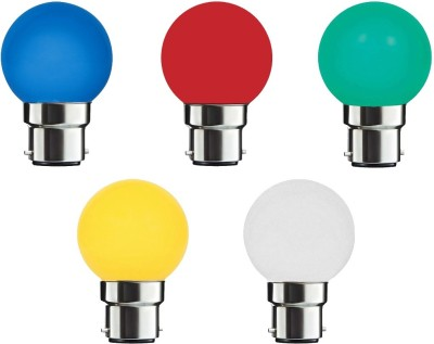 0.5 W LED Night Lamp Bulb B22 multi color (pack of 5)