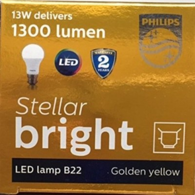 13W B22 1400L LED Bulb (Yellow, Pack of 3)