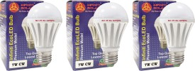 Eco E27 7W LED Bulb (Cool White, Pack of 3)