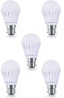 9W Plastic Body White LED Bulb (Pack Of 5)