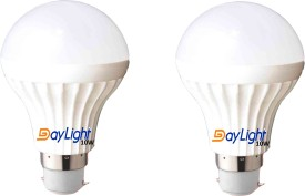 10W B22 LED Bulb (White, Set Of 2)