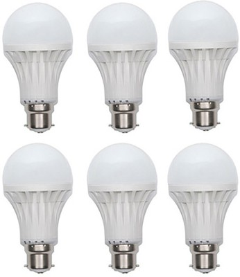 Gold-12W-Plastic-Body-Warm-White-LED-Bulb-(Pack-Of-6)