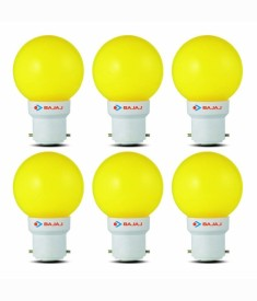 0.5W LED Bulbs (Yellow, Pack of 6)