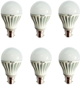 Bozz 5W B22 LED Bulb (White, Set of 6)