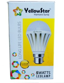 Yellowstar 5W B22 LED Bulb (White, Set of 3)