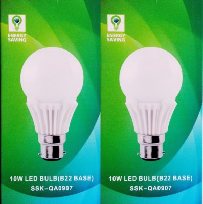 10 W B22 LED Bulb (White, Glass, Pack of 2)
