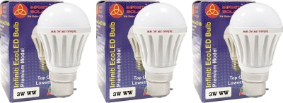 Eco B22 3W LED Bulb (Warm White, Pack of 3)