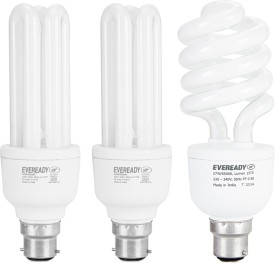 Eveready 15 W, 20 W, 27 W CFL BHK Combo with Free 4 AA Batteries Bulb