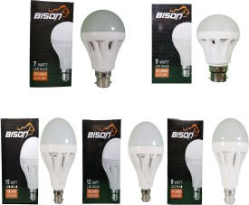 15W, 12W, 9W, 7W, 5W B22 LED Bulb (White, Combo Of 5)