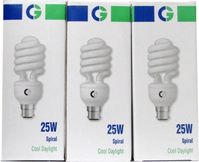 Greaves Spiral 25 Watt CFL Bulb (Cool Day Light,Pack of 3)