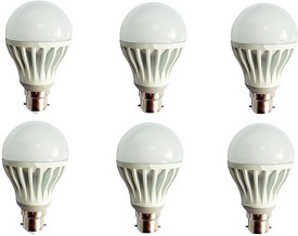Gold 5W Plastic Body Warm White LED Bulb (Pack Of 6)