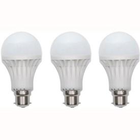 9W Plastic 220 Lumens White LED Bulb (Pack Of 3)