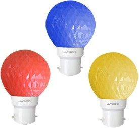 0.5 W LED Bulb (Pack of 3) (Multicolor: Blue, Red, Yellow)
