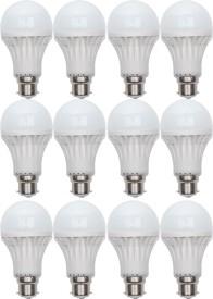 Gold 7W B22 LED Bulb (White, Set of 12)