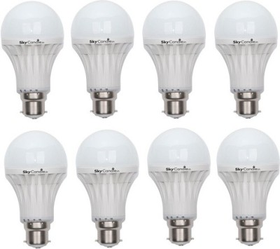 9W B22 LED Bulb (White, Set of 8)