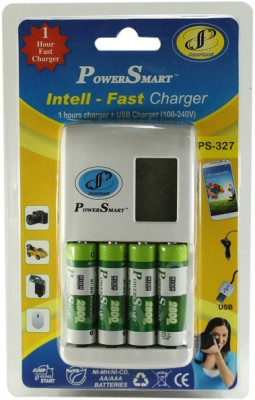 Power Smart 1 Hour fast battery charger having USB output (with 4 AA batteries) (2800mAh Capacity)