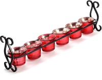 Aapno Rajasthan Glass 6 - Cup Tealight Holder (Red, Black, Pack Of 7)