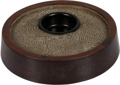 Rajrang Paisley Candle Holder Wooden 1 - Cup Candle Holder (Brown, Pack Of 1)