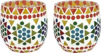 EarthenMetal Handcrafted Mosaic Design Multi-Coloured Glass 1 - Cup Tealight Holder Set (Multicolor, Red, Pack Of 2)