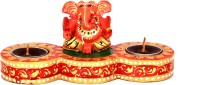 Adaa Blessing Ganesha With Two Diyas (Brown) Wooden 2 - Cup Tealight Holder (Multicolor, Pack Of 1)
