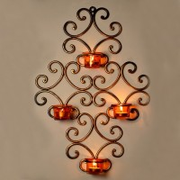 ExclusiveLane Wall Scone With 4 Iron 1 - Cup Tealight Holder (Gold, Yellow, Pack Of 5)