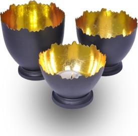 Sutra Decor Black Bowl Set of 3 Aluminium Candle Holder